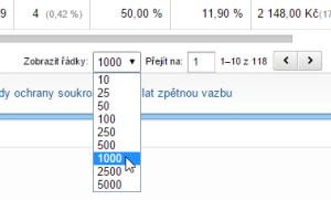 Google Analytics - řádky