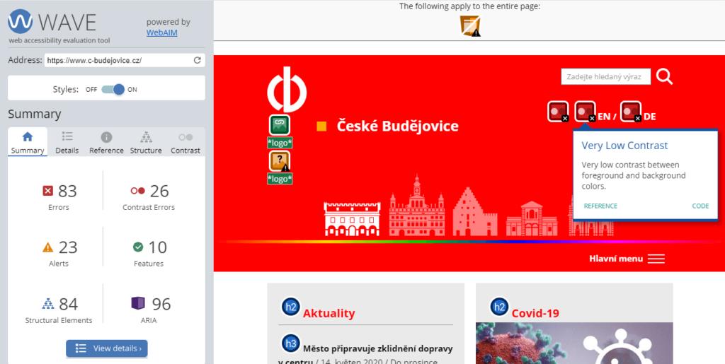 c-budejovice WAVE nástroj přístupnost