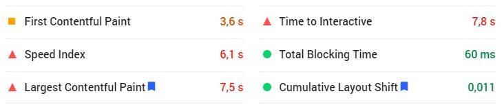 PageSpeed score 53 - Core Web Vitals a další metriky rychlosti