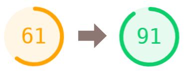 Výsledek optimalizace rychlosti WordPressu - PageSpeed 61 na 91